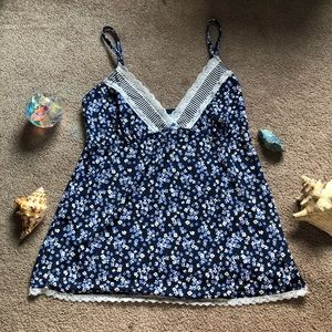 Silky Blue Floral Tank Top